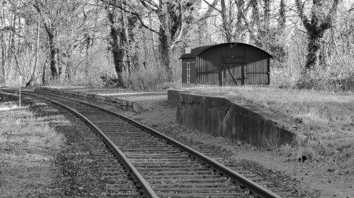 old railway station leave railroad tracks
