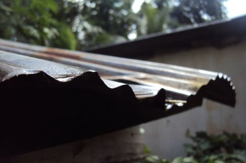 old roof sheet wet rainy