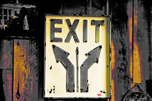 Old Rusty Exit Sign
