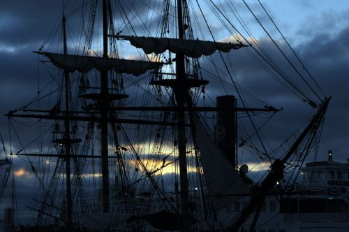 Old Sailing Ship In Sunset