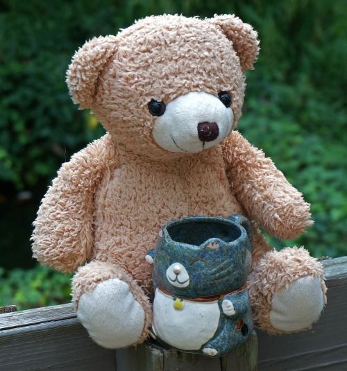 old teddy bear with mug teddy bear toy