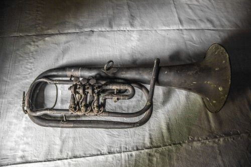old trumpet rusty antique