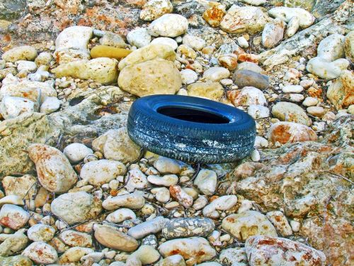 Old Tyre & Rocks