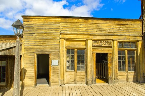 old virginia city storefront  ghost town  abandoned
