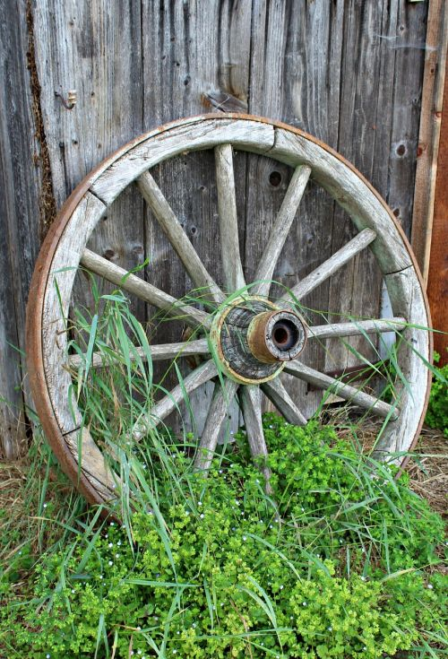 old wagon wheel wooden wheel wood
