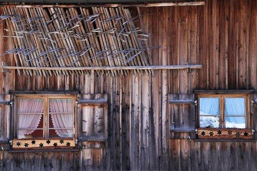 old windows  hut  wooden cottage
