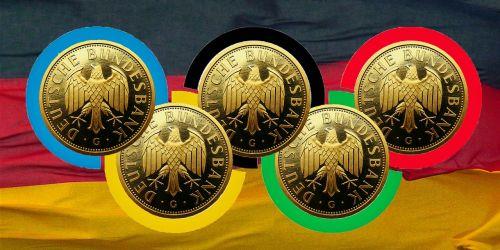 olimpija,olimpinis auksas,varzybos,auksas,Vokietijos vėliava,vėliava,Vokietija,pelnas,juodas raudonas auksas
