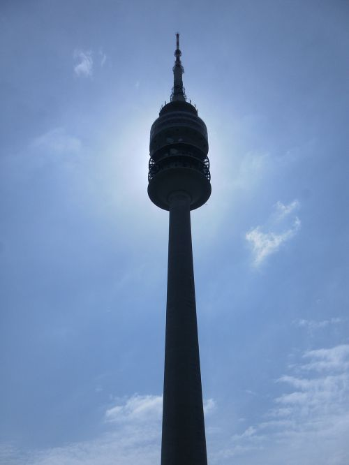 olympia tower munich blue sky