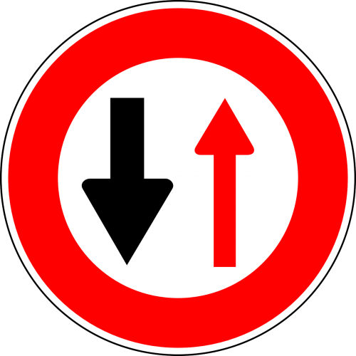 oncoming traffic has priority traffic sign sign