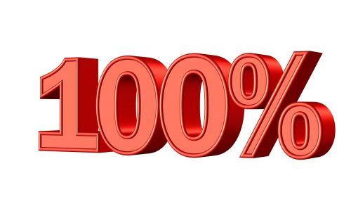 one hundred 100 percent