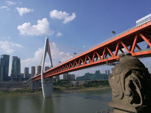 one thousand servant gate bridge the yangtze river blue sky and white clouds
