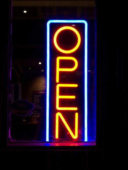 open neon sign lights