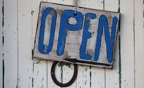 open sign beach