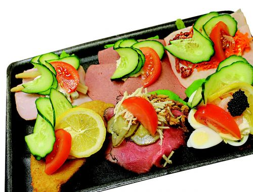 open-faced sandwiches cold cuts food