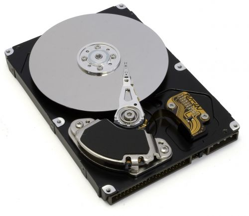 open hard drive tray and visible playhead writing