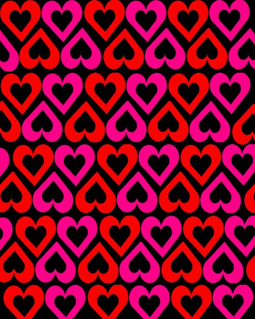 Open Hearts On Black Background