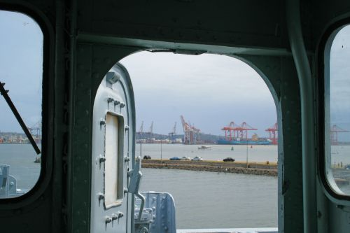 Open Ship Door With Harbour View