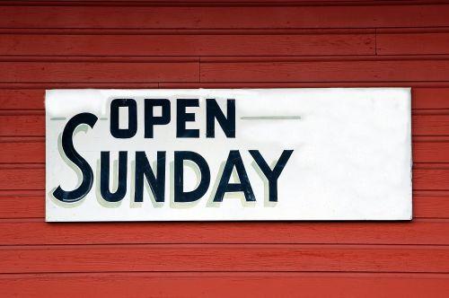 open sunday sign signage open