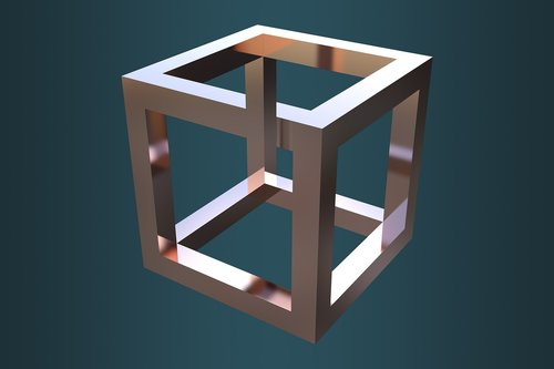optical illusion  cube  escher