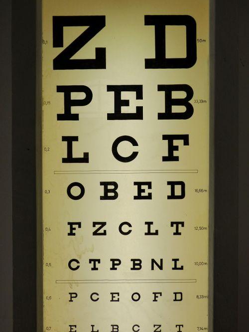 optics oculist test