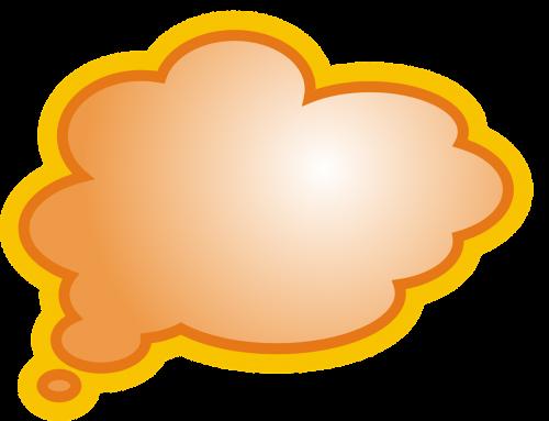 orange bubble text