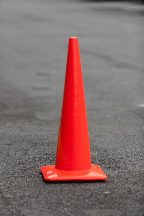 orange cone road