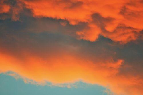 dangus, saulėlydis, debesis, oranžinė, sluoksniai, oranžiniai debesies sluoksniai