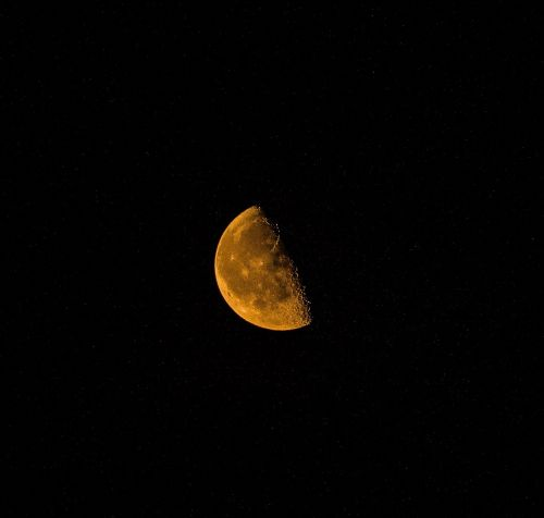 orange moon craters night