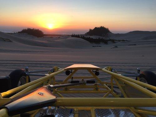 oregon sand dunes at sunset  sand rail  dunes