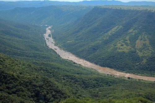upė, lenkti, Gorge, kanjonas, giliai, pusės, begalybė, žalias, augmenija, Oribi Gorge Canyon su upe