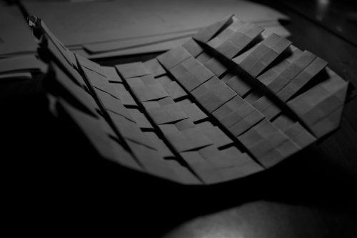 origami folds white black