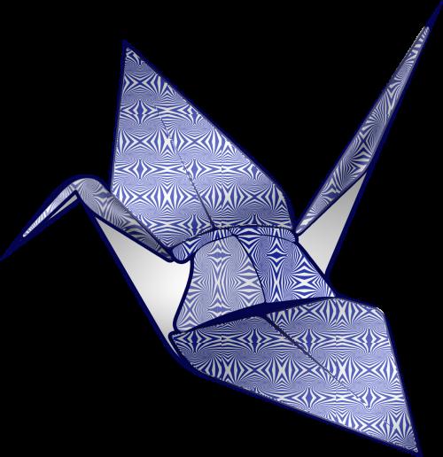origami blue op art
