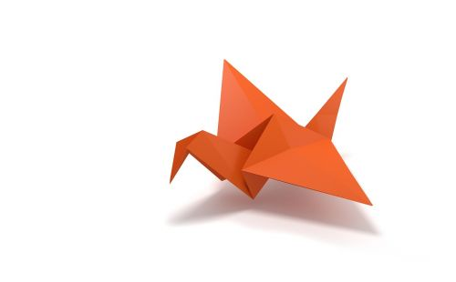 origami folding paper bird flying