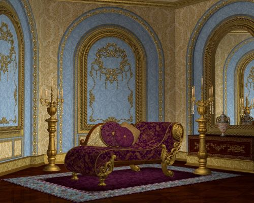 ornate room chaise lounge interior