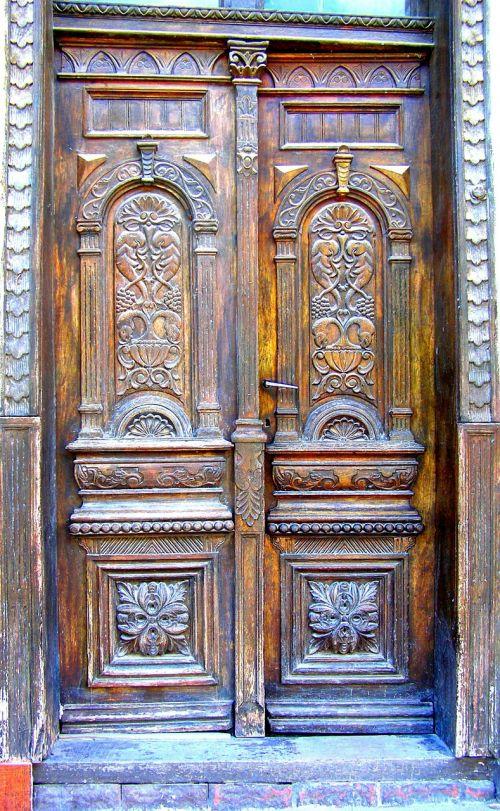ornate wooden doors carved wood