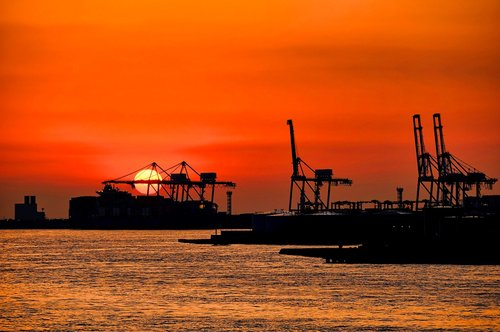 osaka  container  sunset