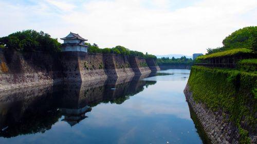 moat osaka castle japan
