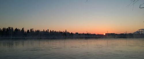 oulu river sun glow