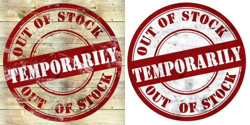 out of stock stamp temporarily