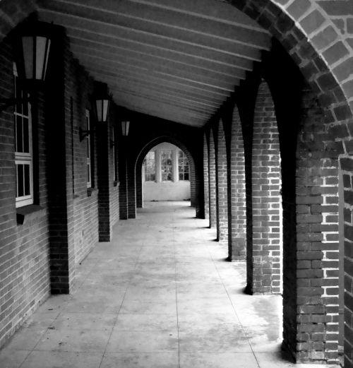 outdoor brick archway