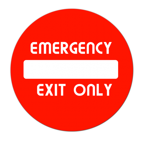 output exit emergency exit