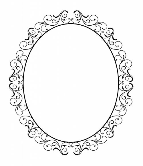Oval Border Or Frame Black Lace