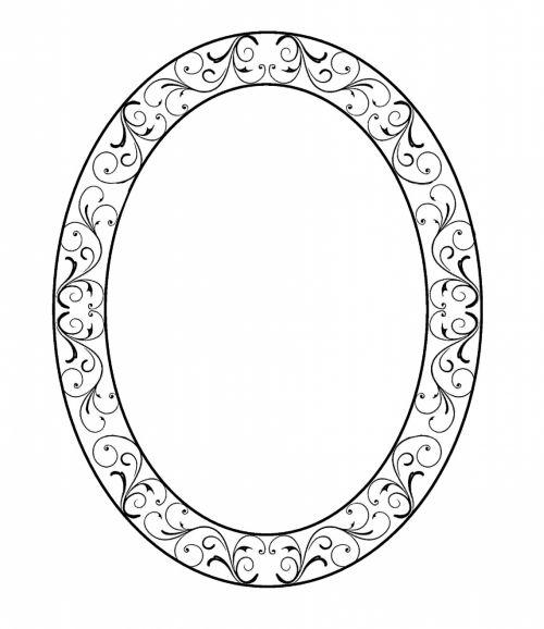 Oval Frame In Black Swirls