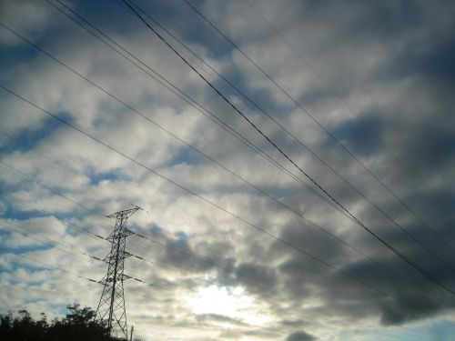 Overhead Cables With Clouds