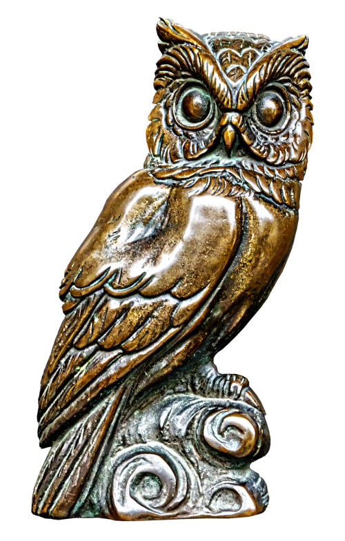 owl bronze statue plaque