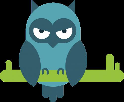 owl comic animal portrait