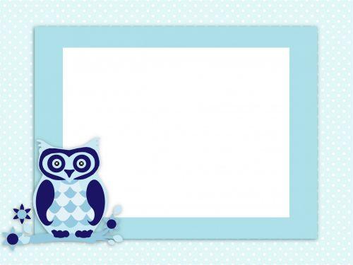 Owl Invitation Card Blue