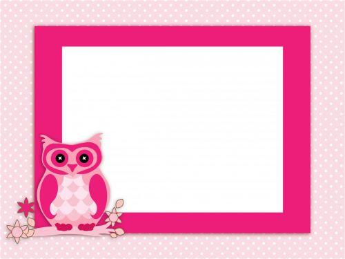 Owl Invitation Card Pink