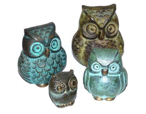 owls figures bronze