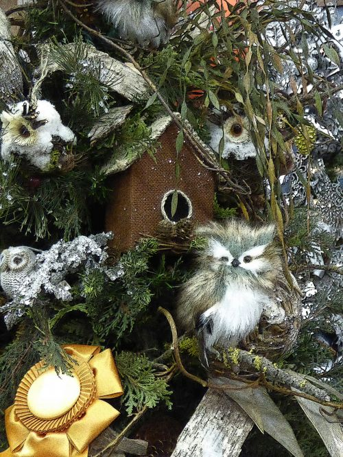 Owls In Christmas Tree